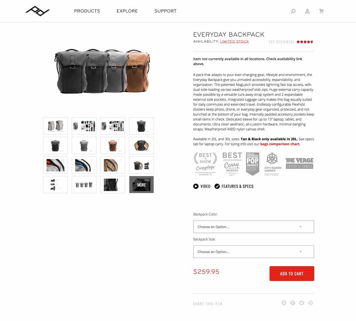 Exemple d'une page produit